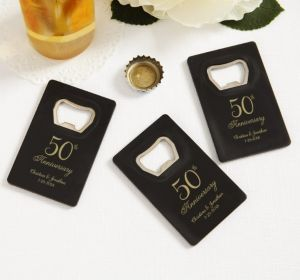 PERSONALIZED Wedding Credit Card Bottle Openers - Black (Printed Plastic) (Gold, 50th Anniversary)