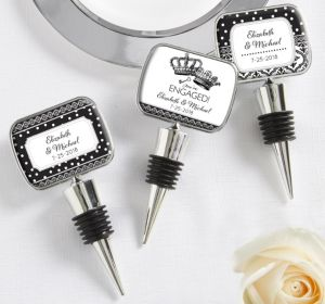 PERSONALIZED Wedding Bottle Stoppers (Printed Epoxy Label) (We're Engaged Crowns)