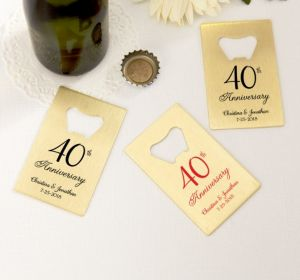 PERSONALIZED Wedding Credit Card Bottle Openers - Gold (Printed Metal) (Red, 40th Anniversary)