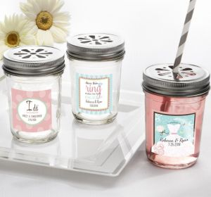 PERSONALIZED Wedding Mason Jars with Daisy Lids (Printed Label ) (Ring Engaged)