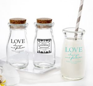 PERSONALIZED Wedding Glass Milk Bottles with Corks (Printed Glass) (Black, Always & Forever Damask)