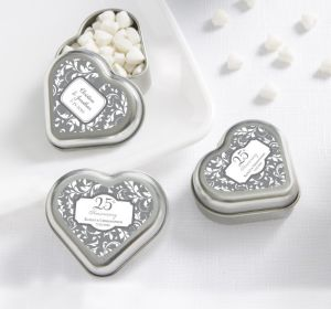 PERSONALIZED Wedding Heart-Shaped Mint Tins with Candy (Printed Label) (Silver Elegant Scroll)