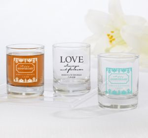 PERSONALIZED Wedding Shot Glasses (Printed Glass) (White, Always & Forever Love)