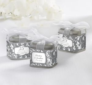 PERSONALIZED Wedding Favor Tins with Bows (Printed Label) (Silver Elegant Scroll)