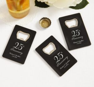 PERSONALIZED Wedding Credit Card Bottle Openers - Black (Printed Plastic) (Silver, 25th Anniversary)