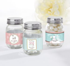 PERSONALIZED Wedding Mini Glass Mason Jars (Printed Label) (I Do Woo Hoo)