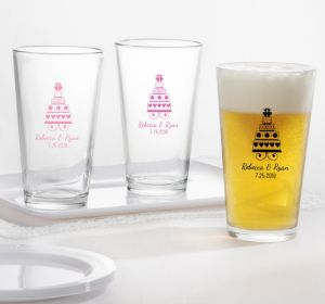 PERSONALIZED Wedding Pint Glasses (Printed Glass) (Black, Sweet Wedding Cake)