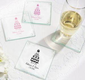 PERSONALIZED Wedding Glass Coasters, Set of 12 (Printed Glass) (Bright Pink, Sweet Wedding Cake)