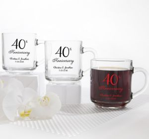 PERSONALIZED Wedding Glass Coffee Mugs (Printed Glass) (40th Anniversary Elegant Scroll)