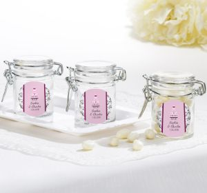 PERSONALIZED Wedding Small Glass Jars (Printed Label) (Sweet Wedding Cake)