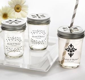 PERSONALIZED Wedding Mason Jars with Daisy Lids (Printed Glass) (White, Damask & Dots)