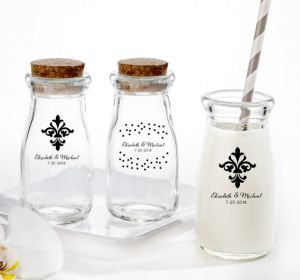 PERSONALIZED Wedding Glass Milk Bottles with Corks (Printed Glass) (Black, Damask & Dots Engagement)