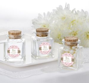 PERSONALIZED Wedding Small Glass Bottles with Corks (Printed Label) (Sparkling Pink Wedding)