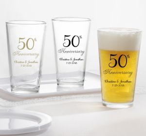 PERSONALIZED Wedding Pint Glasses (Printed Glass) (50th Anniversary Elegant Scroll)