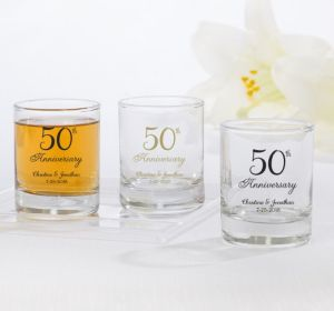 PERSONALIZED Wedding Shot Glasses (Printed Glass) (50th Anniversary Elegant Scroll)