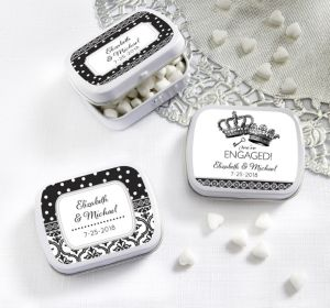 PERSONALIZED Wedding Mint Tins with Candy (Printed Label) (Damask & Dots Engagement)