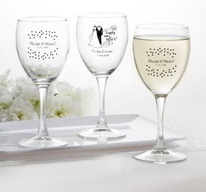 PERSONALIZED Wedding Wine Glasses (Printed Glass) (White, Black & White Attire)