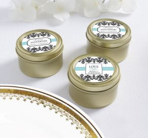 PERSONALIZED Wedding Round Candy Tins - Gold (Printed Label)