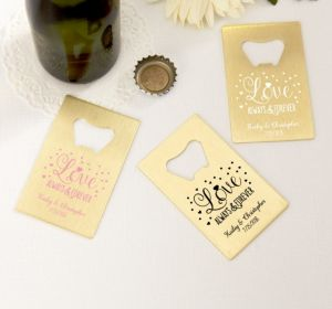 PERSONALIZED Wedding Credit Card Bottle Openers - Gold (Printed Metal) (Pink, Sparkling Pink Wedding)