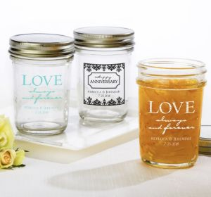 PERSONALIZED Wedding Mason Jars with Solid Lids (Printed Glass) (White, Always & Forever Love)