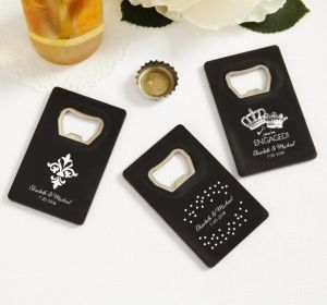 PERSONALIZED Wedding Credit Card Bottle Openers - Black (Printed Plastic) (White, We're Engaged Crowns)