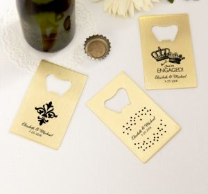 PERSONALIZED Wedding Credit Card Bottle Openers - Gold (Printed Metal) (Black, We're Engaged Crowns)