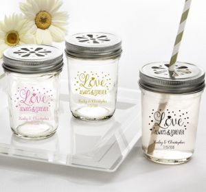 PERSONALIZED Wedding Mason Jars with Daisy Lids (Printed Glass) (Pink, Sparkling Pink Wedding)