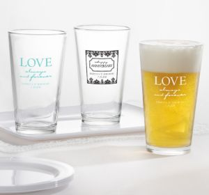 PERSONALIZED Wedding Pint Glasses (Printed Glass)