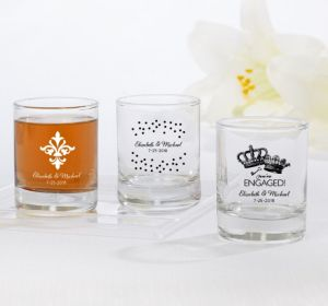 PERSONALIZED Wedding Shot Glasses (Printed Glass) (Black, Damask & Dots Engagement)