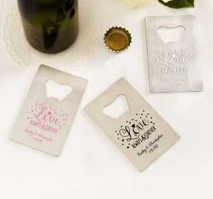 PERSONALIZED Wedding Credit Card Bottle Openers - Silver (Printed Metal) (Pink, Sparkling Pink Wedding)