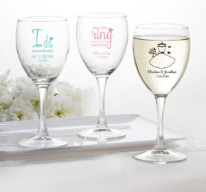 PERSONALIZED Wedding Wine Glasses (Printed Glass) (Pink, Ring Engaged)
