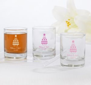 PERSONALIZED Wedding Shot Glasses (Printed Glass) (Bright Pink, Sweet Wedding Cake)