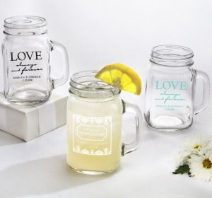 PERSONALIZED Wedding Mason Jar Mugs (Printed Glass) (White, Always & Forever Phrase)