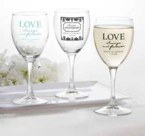 PERSONALIZED Wedding Wine Glasses (Printed Glass) (White, Always & Forever Love)