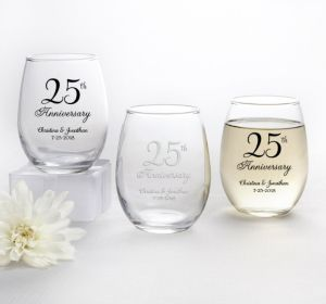 PERSONALIZED Wedding Stemless Wine Glasses 9oz (Printed Glass) (Silver, 25th Anniversary)