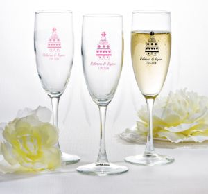 PERSONALIZED Wedding Champagne Flutes (Printed Glass) (Black, Sweet Wedding Cake)