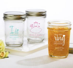 PERSONALIZED Wedding Mason Jars with Solid Lids (Printed Glass) (White, Blushing Bride Dress)