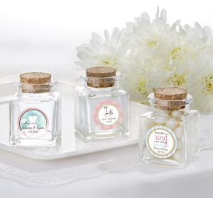 PERSONALIZED Wedding Small Glass Bottles with Corks (Printed Label) (I Do Woo Hoo)