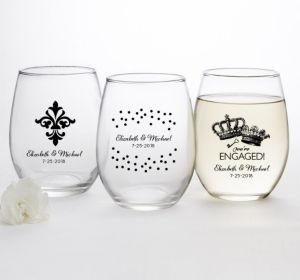 PERSONALIZED Wedding Stemless Wine Glasses 15oz (Printed Glass) (Black, Damask & Dots)