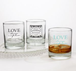 PERSONALIZED Wedding Rocks Glasses (Printed Glass) (White, Always & Forever Phrase)