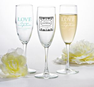 PERSONALIZED Wedding Champagne Flutes (Printed Glass) (Black, Always & Forever Damask)