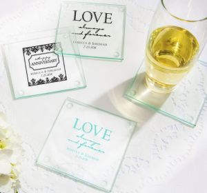 PERSONALIZED Wedding Glass Coasters, Set of 12 (Printed Glass) (Robin's Egg Blue, Always & Forever Happy Anniversary)