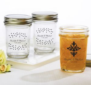 PERSONALIZED Wedding Mason Jars with Solid Lids (Printed Glass) (White, Damask & Dots Engagement)