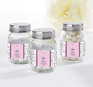 PERSONALIZED Wedding Mini Glass Mason Jars (Printed Label) (Sweet Wedding Cake)