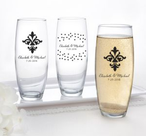 PERSONALIZED Wedding Stemless Champagne Flutes (Printed Glass) (White, Damask & Dots)