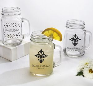 PERSONALIZED Wedding Mason Jar Mugs (Printed Glass) (Black, Damask & Dots Engagment)