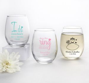 PERSONALIZED Wedding Stemless Wine Glasses 9oz (Printed Glass) (Black, Ring Engaged)