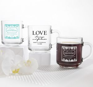 PERSONALIZED Wedding Glass Coffee Mugs (Printed Glass) (Robin's Egg Blue, Always & Forever Phrase)