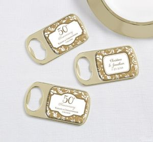 PERSONALIZED Wedding Bottle Openers - Gold (Printed Epoxy Label) (Gold Elegant Scroll)