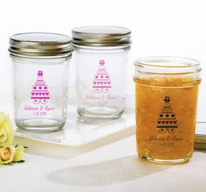 PERSONALIZED Wedding Mason Jars with Solid Lids (Printed Glass) (Bright Pink, Sweet Wedding Cake)